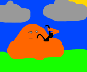 orange blob takes off sunglasses
