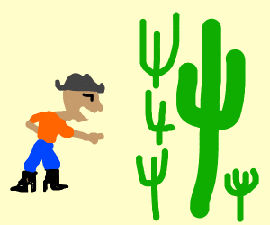 Young cowboy laughs at multiple cactus