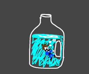 blue suit man with gun inside jug of water