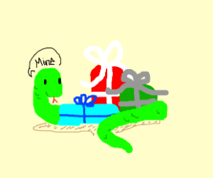 Snake hordes christmas presents