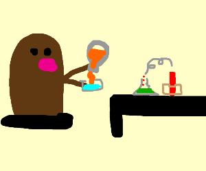 Mole performs science experiment