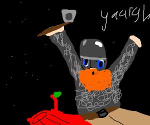Viking falls onto a red tree