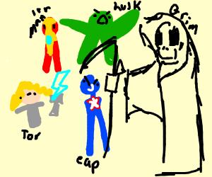 Avengers vs Giant Grim Reaper