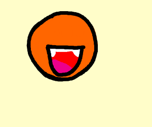 An orange with a mouth