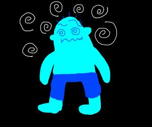 blue man is confused