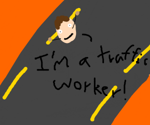 Yellow road line disguised as traffic worker.