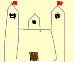 Castle with two red flags on its side-towers