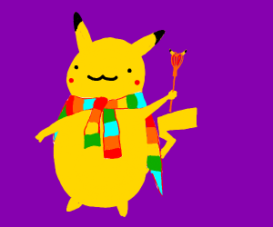 Pikachu with a majestic coat around his neck