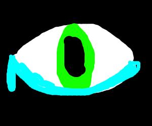 Tearful green eye