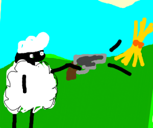 sheep shooting wheat with a pistol