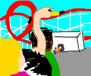 Ostrich waiting for a rollercoaster