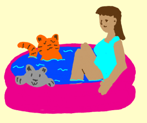 Lady in the pool with kitties