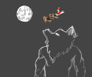 Werewolf howls at the moon (on Christmas!)