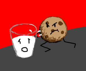a cookie stabbing a glass of milk