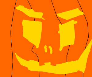 extreme close-up of an angry pumpkin