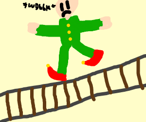 elf balancing on railway tracks