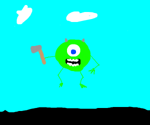 mike wazowski with axe floating in air