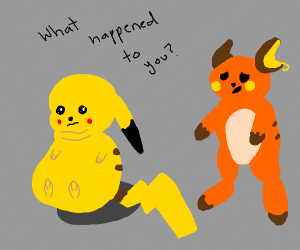 Pikachu got fat, Raichu is shocked to see him