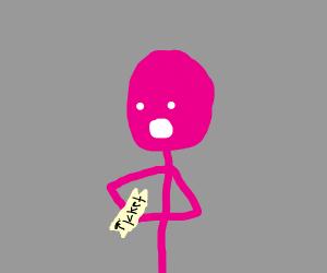 pink guy got a ticket