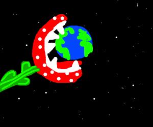 Piranha Plant eats the earth