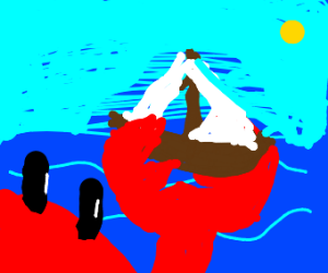 crab with a sailboat in hand