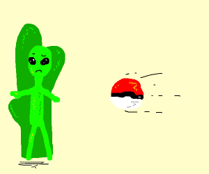 Pokeball thrown at alien stuck to a cactus.