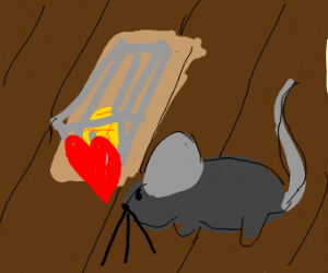 mouse wants cheese but it is in a mouse trap