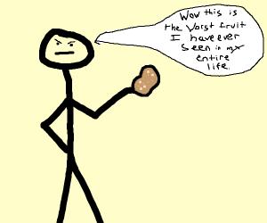 man displeased by fruit