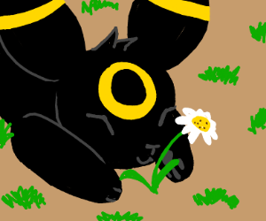 Happy Umbreon with a flower