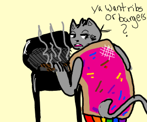 Nyan cat but on the barbecue
