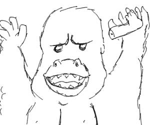 Gorilla with a detached human leg