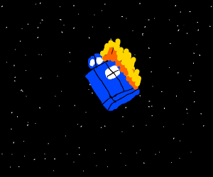 blue phone box on fire in space