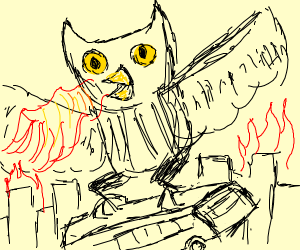 Giant owl destroys stuff