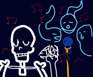 skeleton dancing to a ghost choir