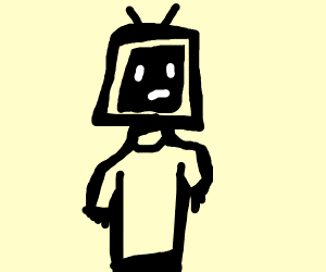 Person with a tv for a head