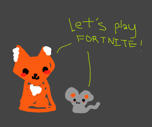 a fox with a mouse going to play fortnite