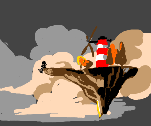 Floating island with windmill and one person