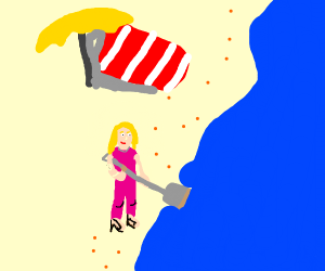 Barbie digging into the Ocean