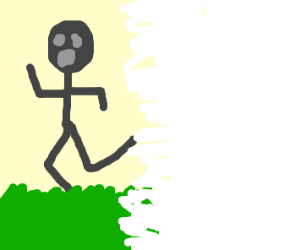Man running from disappearing world