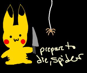 "Pikachu stabs spider ""K.O!"""