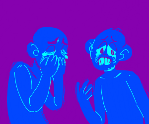 Blue people crying