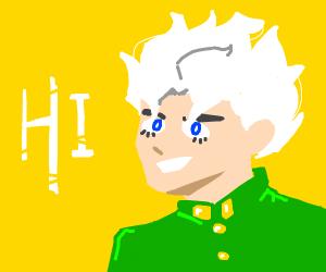 Kid With White Hair Says Hi