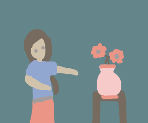 A girl and a flower vase