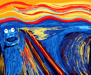 scream painting but its cookie monster