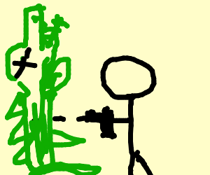 A person shooting a alligator