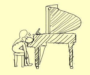 Trying to play a piano
