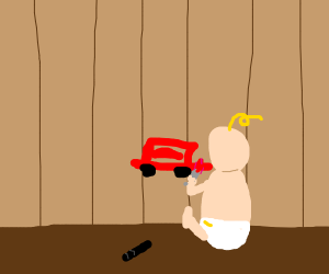baby draws car to the wall