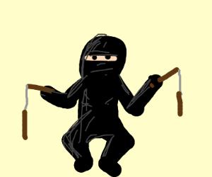 Ninja holding nunchucks