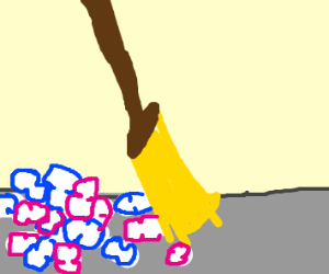 Broom Sweeps up Packing Peanuts