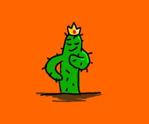 Smug cactus wearing a crown